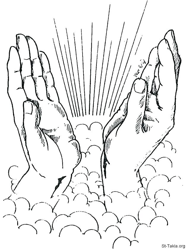 640x851 Praying Hands Coloring Page Free