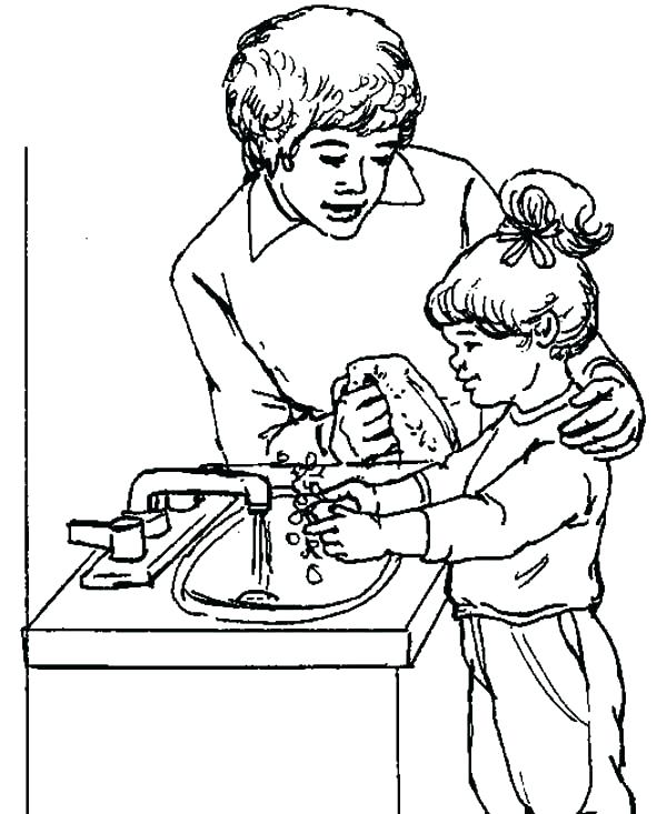 600x733 Washing Hands Coloring Page Coloring Pages Hand Washing Coloring