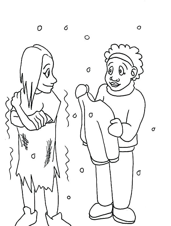 600x789 Helping Others Coloring Pages Helping Others Give Warm Clothes
