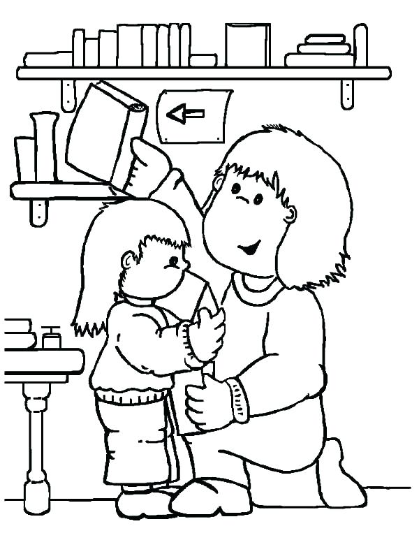 600x783 Childrens Coloring Pages Coloring Pictures Of People Librarian Is