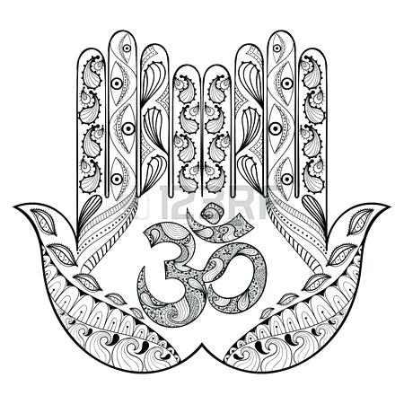 450x450 Henna Coloring Pages Hand Drawn Protection Hand For Adult Coloring