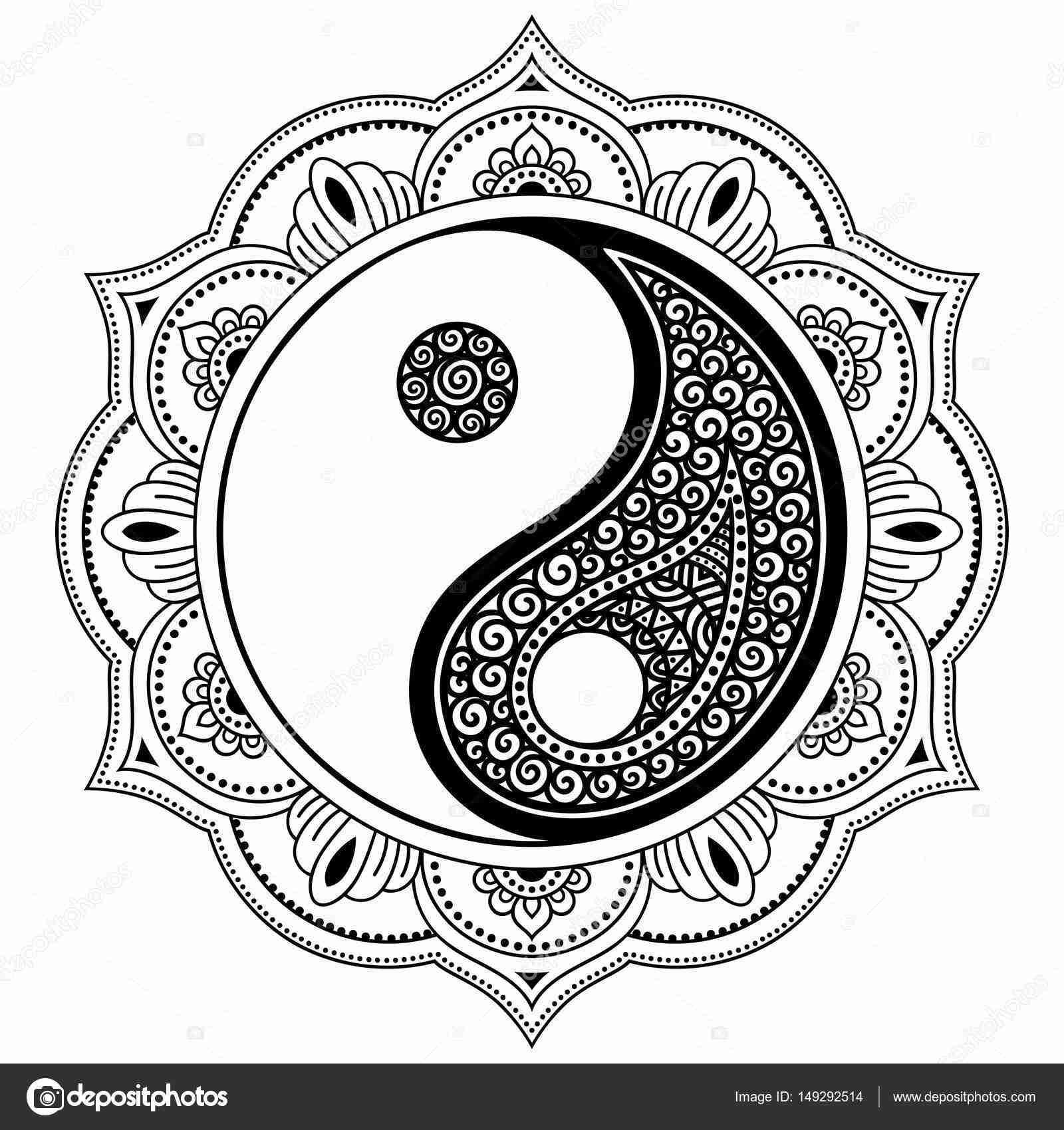 1600x1700 Vector Henna Tatoo Mandala Yin Yang Decorative Symbol Mehndi