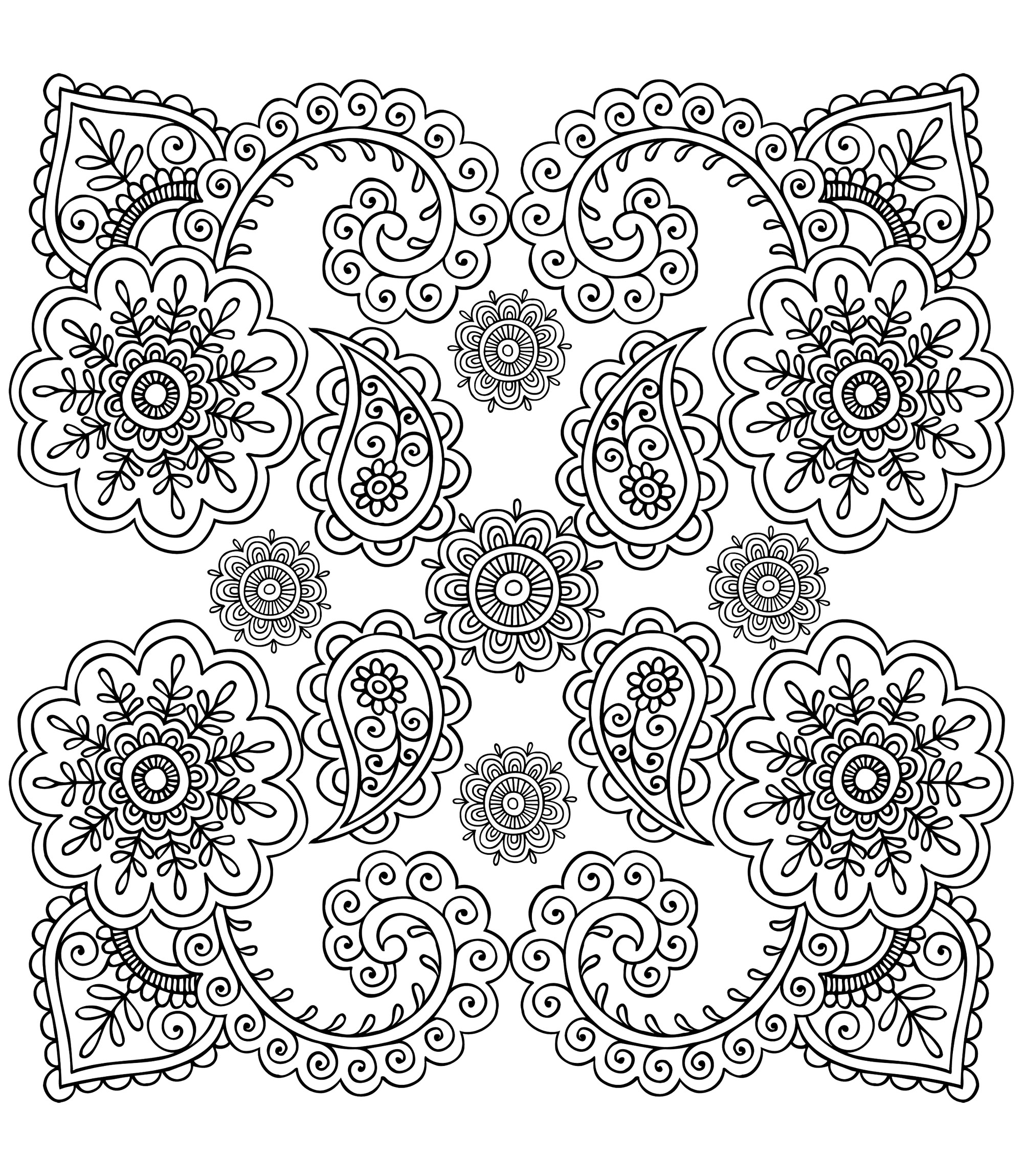 photograph about Printable Henna Designs referred to as Henna Layout Coloring Webpages at  No cost for