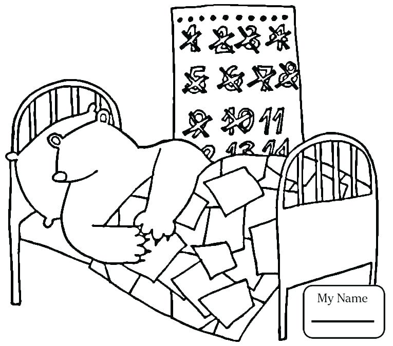 765x674 Hibernating Bear Coloring Page