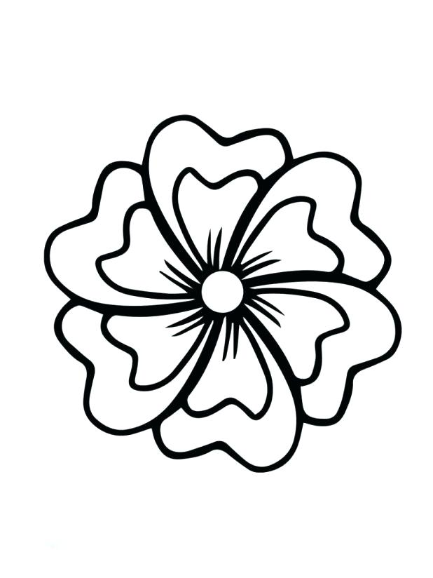 618x824 Hibiscus Flower Coloring Page