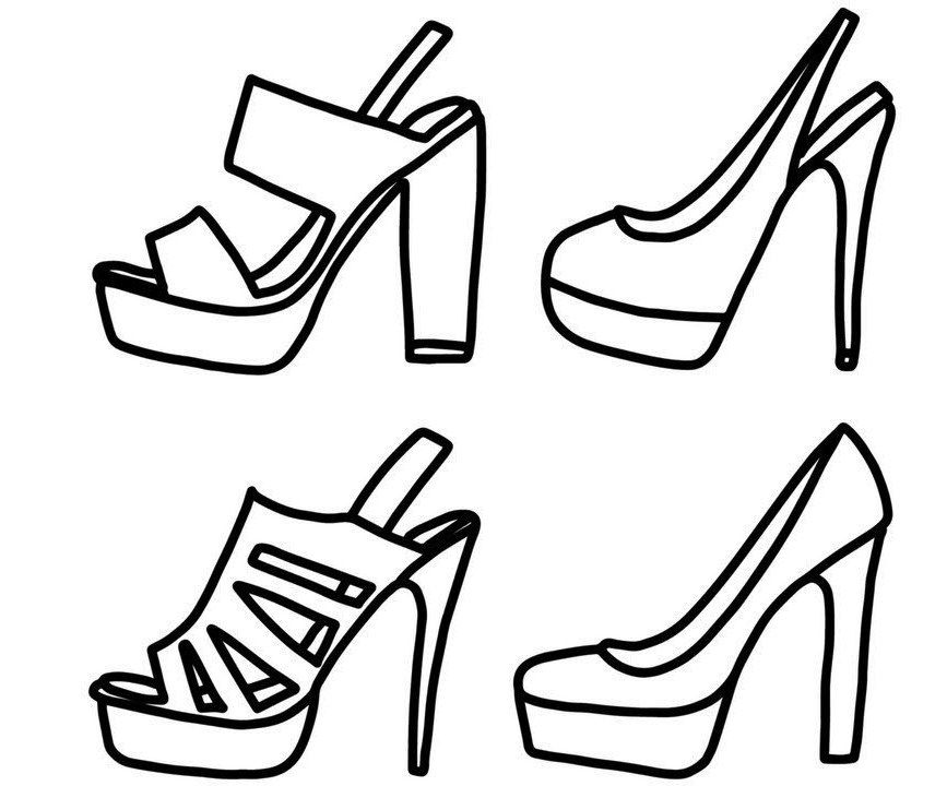 867x720 Models Of High Heels Shoes Coloring Pages Shoes Coloring Page