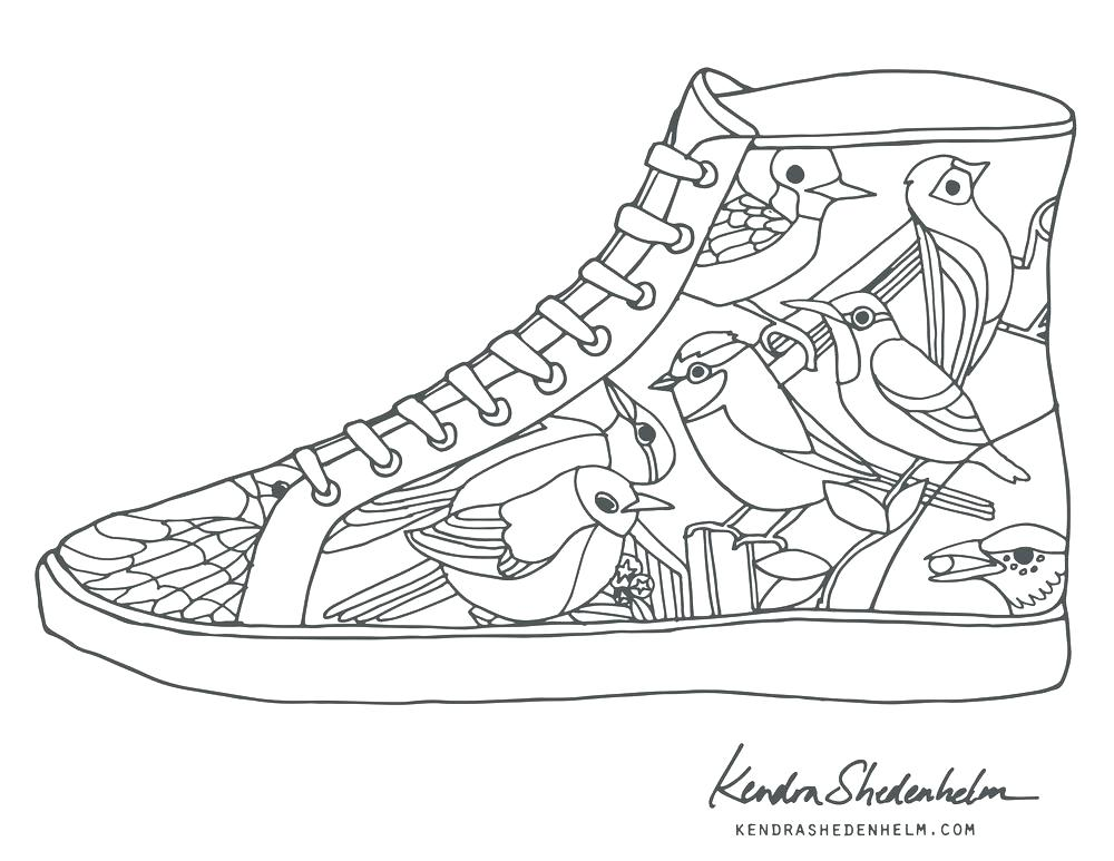 1000x773 Shoes Coloring Page