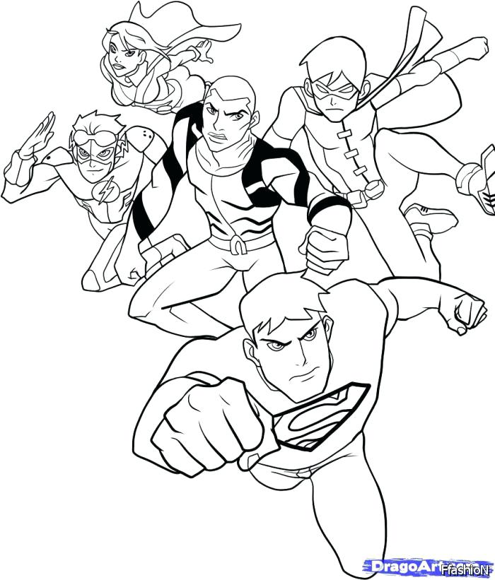 700x821 Young Justice Coloring Pages Young Justice Coloring Sheets High
