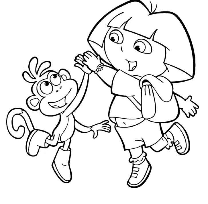 726x712 Dora And Boots Coloring Pages Dora And Boots Coloring Pages High