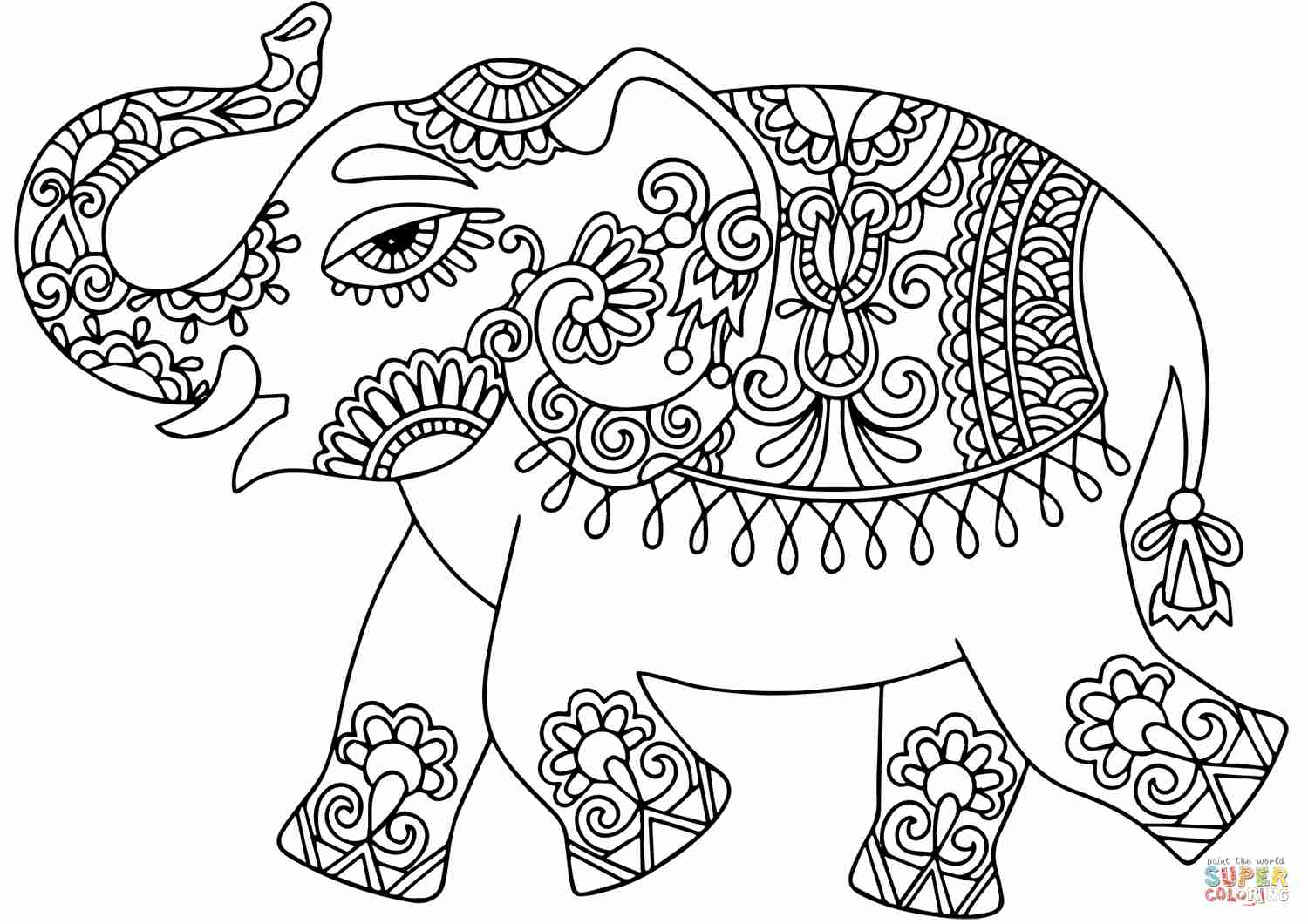 1500x1060 Elephant With Indian Pattern Coloring Page Free Printable