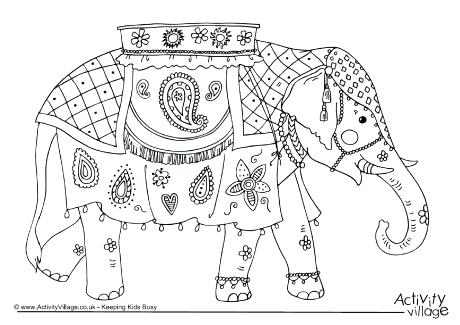 460x325 India Coloring Page Elephant Colouring Page Little Indian Girl