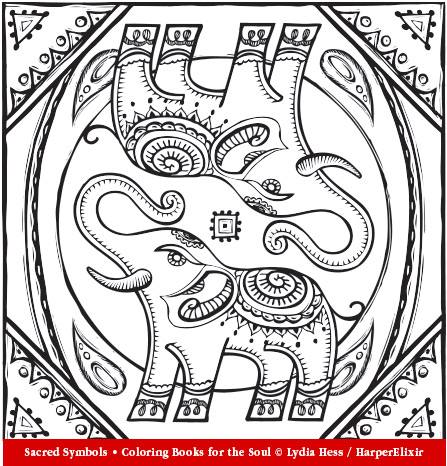 447x466 Indian Elephant From Sacred Symbols Adult Coloring Book