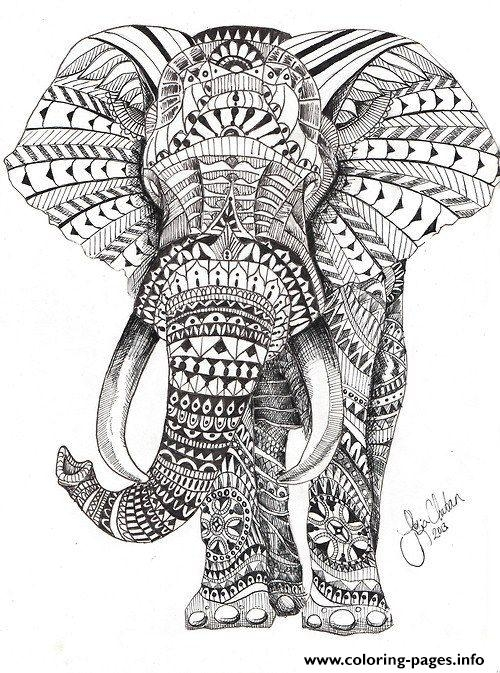 500x673 Colored Adult Coloring Pages Elephant Printable