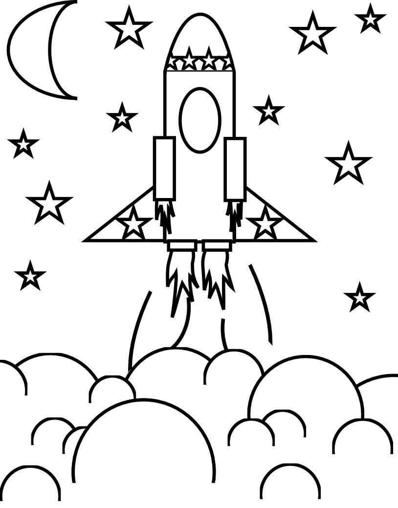 814x1039 Useful Rocketship Coloring Pages We Kick Off H