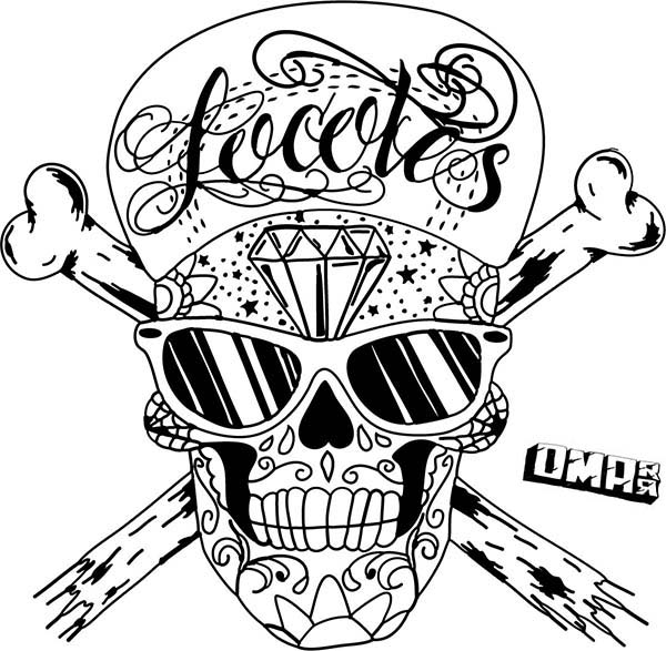 600x587 Coloring Page Of Hip Hop Skull