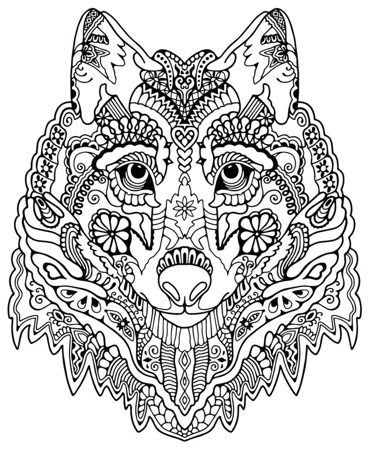 736x896 Breathtaking Hippie Coloring Pages Cute Wolf Adult Mandala Grown