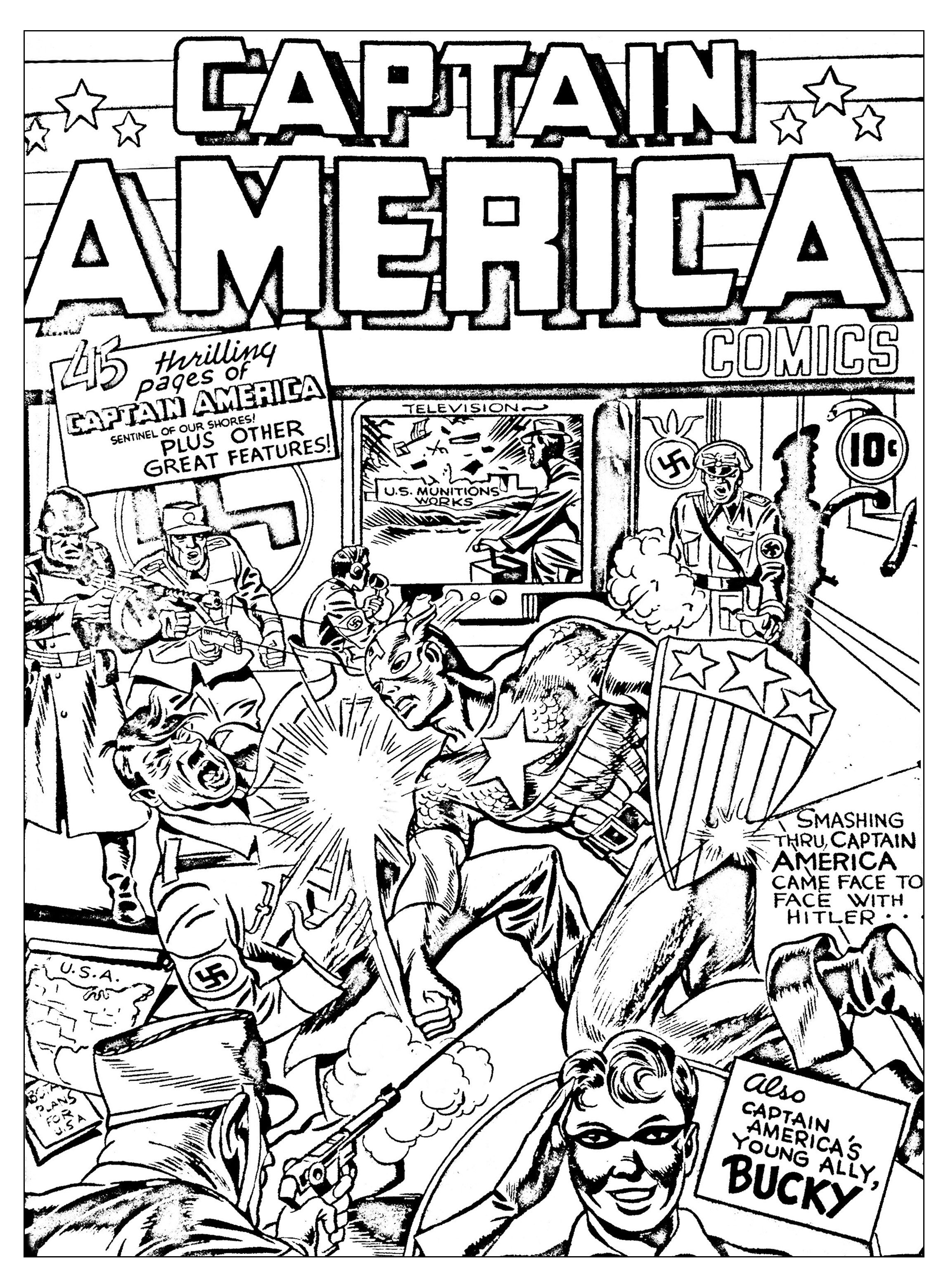 2296x3118 Free Coloring Page Coloring Adult Captain America Vs Hitler