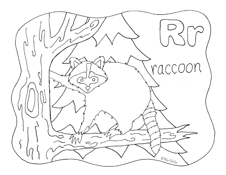 780x603 Nature Alphabet Coloring Page Letter R