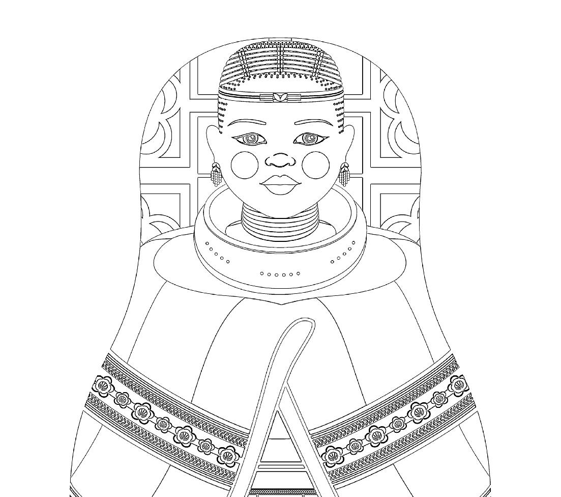 1103x976 Ndebele South African Matryoshka Coloring Sheet Printable