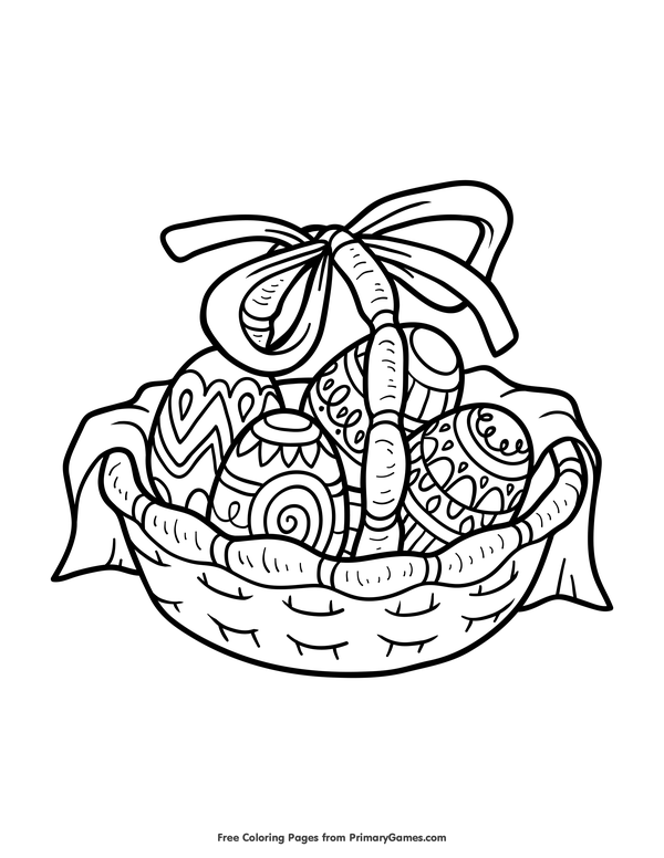 600x776 Easter Coloring Pages Ebook Easter Basket Easter Baskets, Free