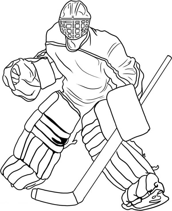 600x736 Hockey Goal Keeper Player Costume Coloring Page