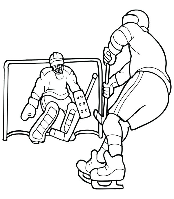 600x687 Hockey Goalie Coloring Pages Hockey Player Solo To Opponent Goal