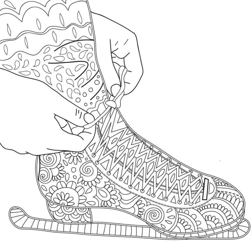 1024x1024 Printable Coloring Page Zentangle Figure Skating Coloring Book