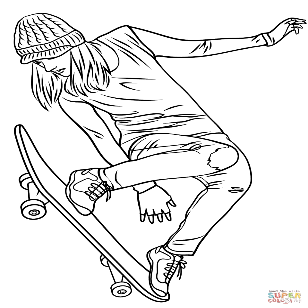 1024x1024 Girl Skateboarding Coloring Page Free Printable Coloring Pages