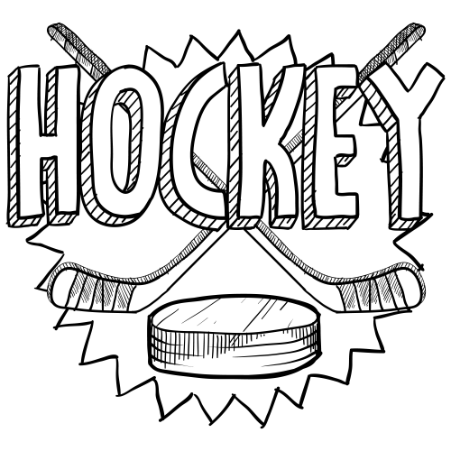 500x500 Hockey Coloring Page