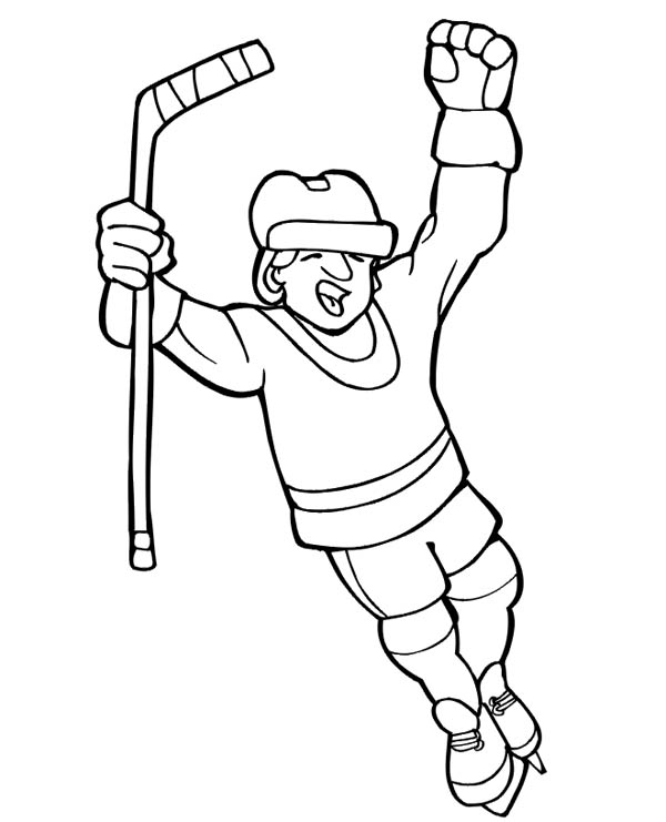 600x741 Hockey Player Score Coloring Page