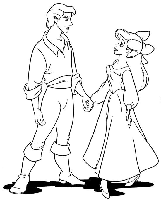 550x690 Eric Holding Hands Ariel Coloring Pages Drawing