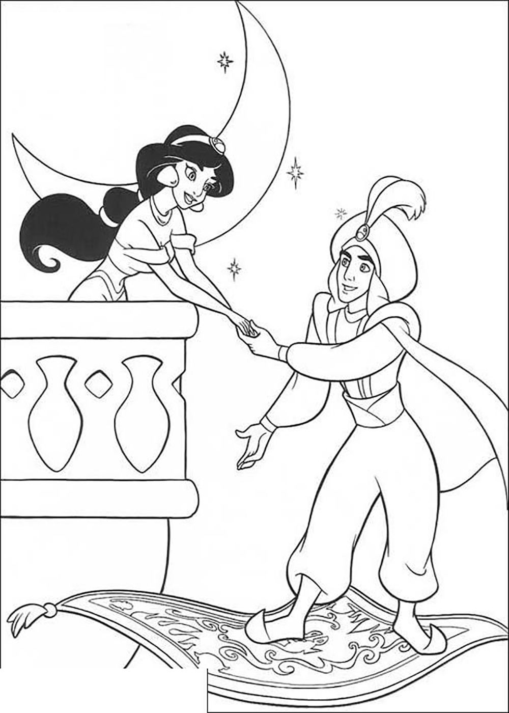 1000x1400 Aladdin Holding Hands With Jasmine Aladdin Coloring Pages
