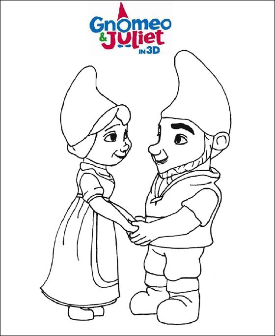 560x683 Lovers Gnomeo Juliet Holding Hands Coloring Page Coloring