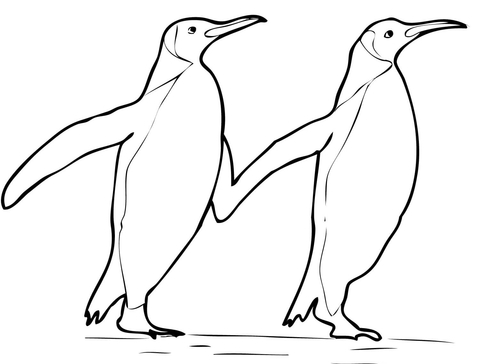 480x364 Two King Penguins Holding Hands Coloring Page
