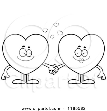 450x470 Cartoon Clipart Of Heart Card Suit Mascots Holding Hands