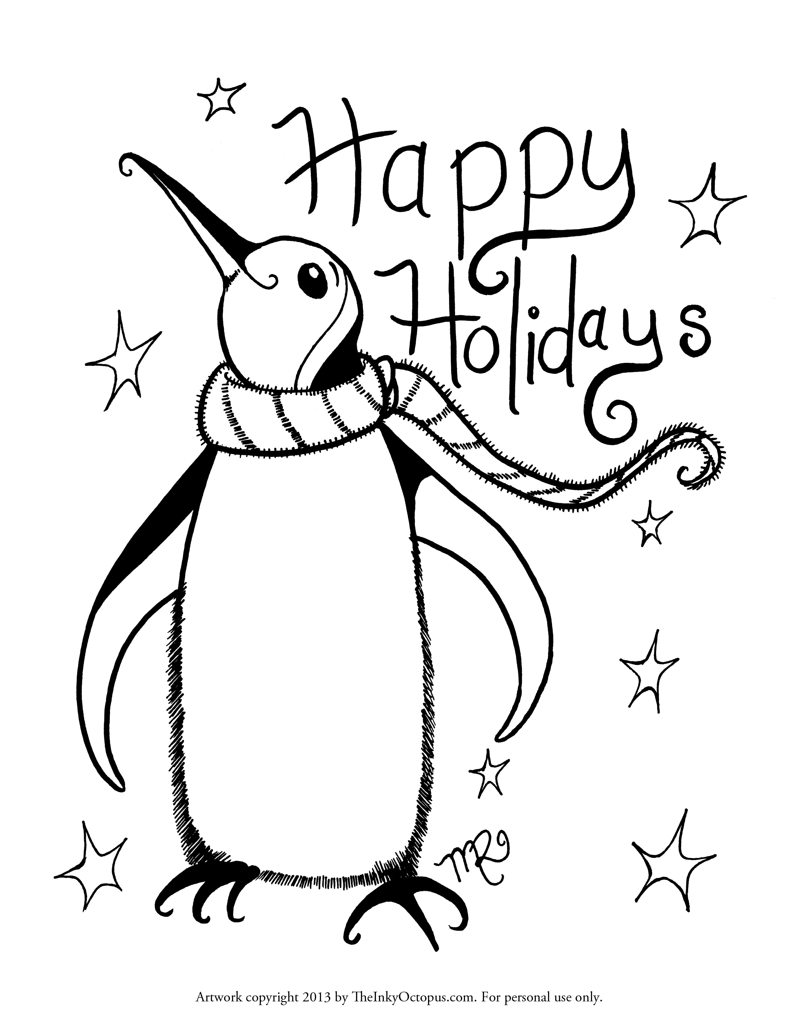 2550x3300 Printable Holiday Coloring Pages The Inky Octopus Free Holiday