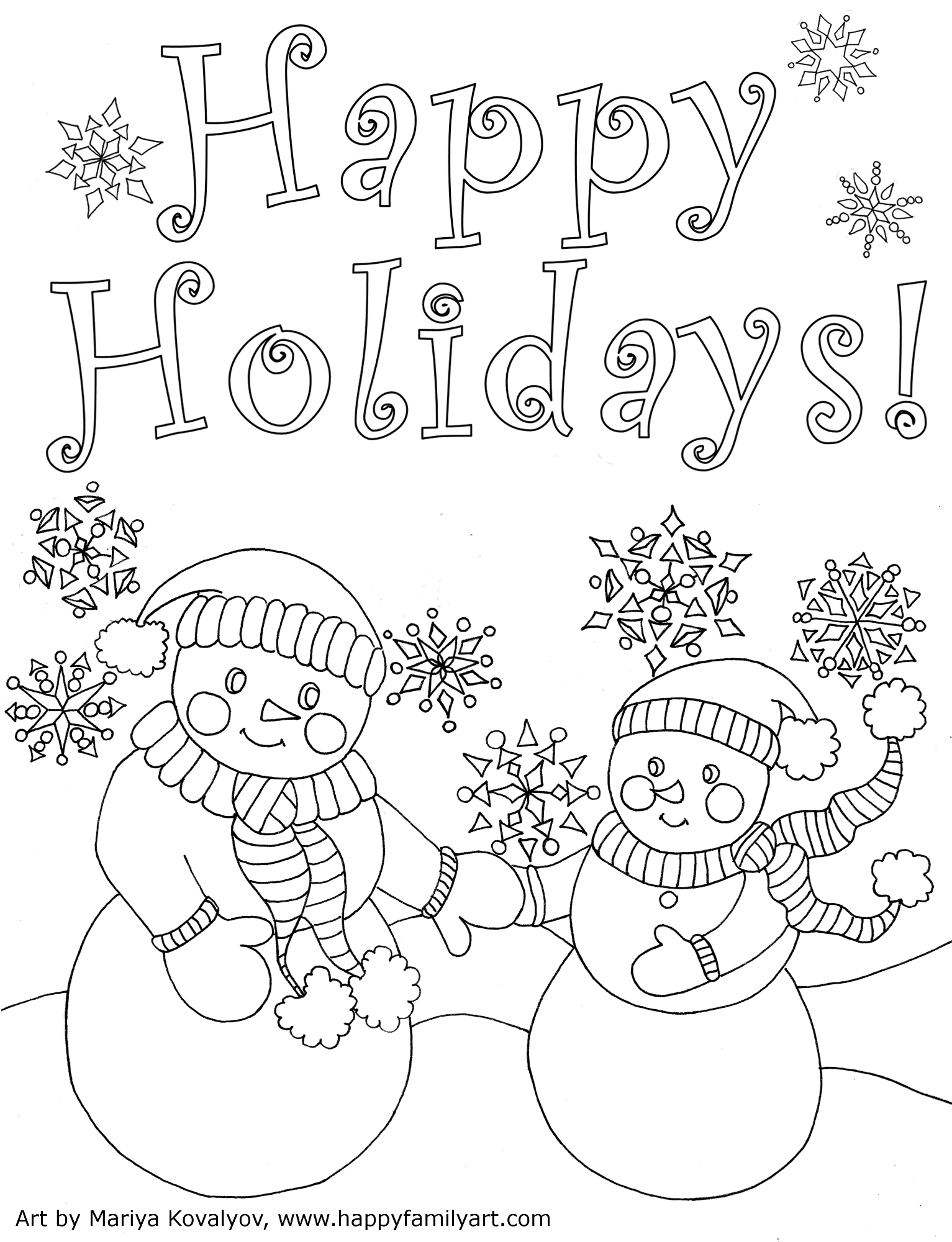 1533x2000 Happy Holidays Coloring Pages