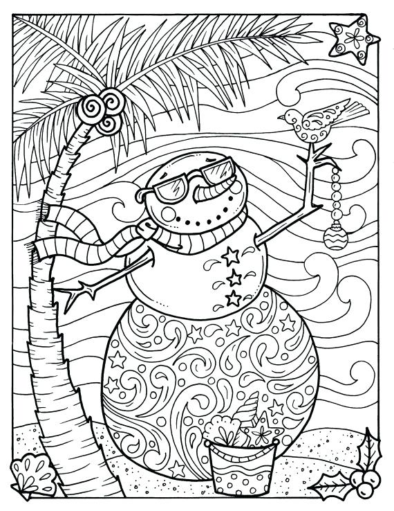 570x738 Snowman Mandala Coloring Pages Together With Tropical Snowman
