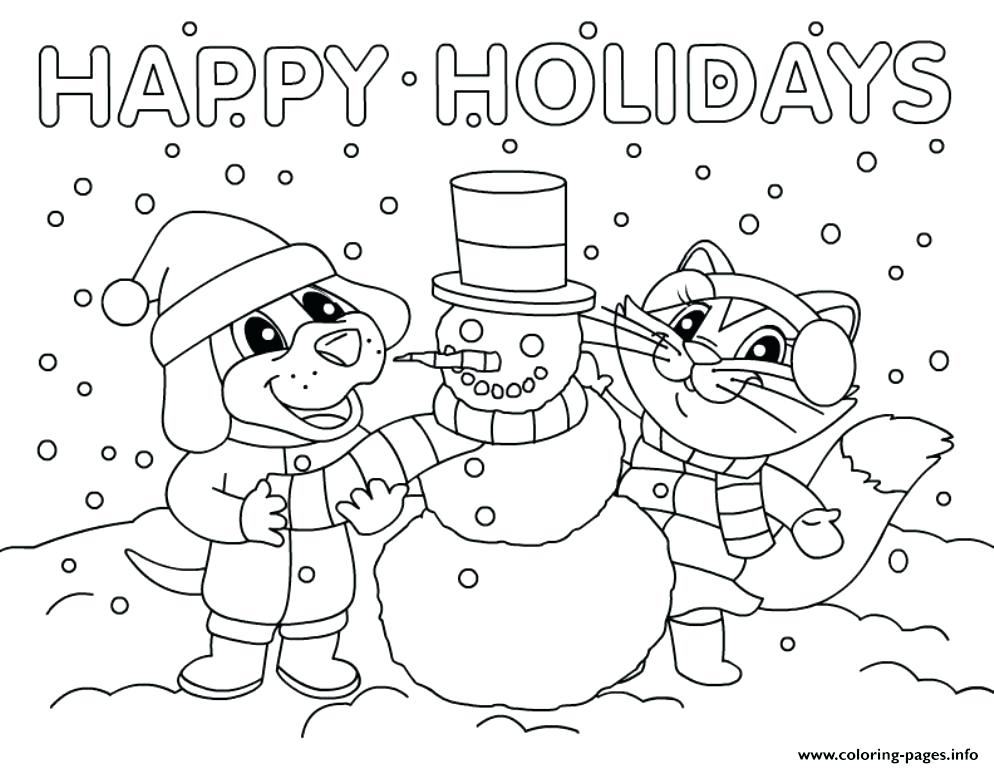 994x768 Holiday Coloring Pages Printable Snowman Happy Holidays Coloring