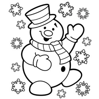 345x345 Snowman Coloring Page
