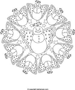 250x300 Snowman Angel Mandala Coloring Page