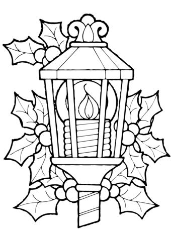 340x480 Christmas Lantern And Holly Coloring Page Invierno, Navidad