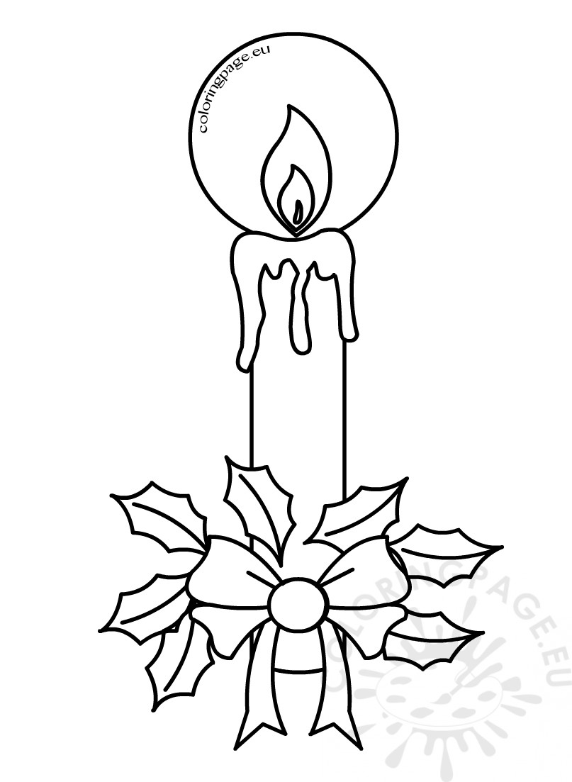 807x1103 Christmas Coloring Pages Candles With Holly Coloring Page
