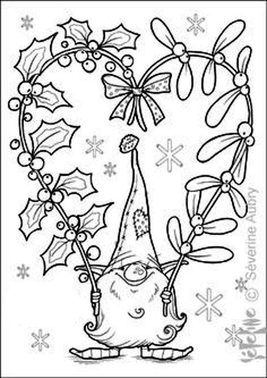 544x768 Tomte, Holly Berries With Mistletoe Diy Embroidery Cross