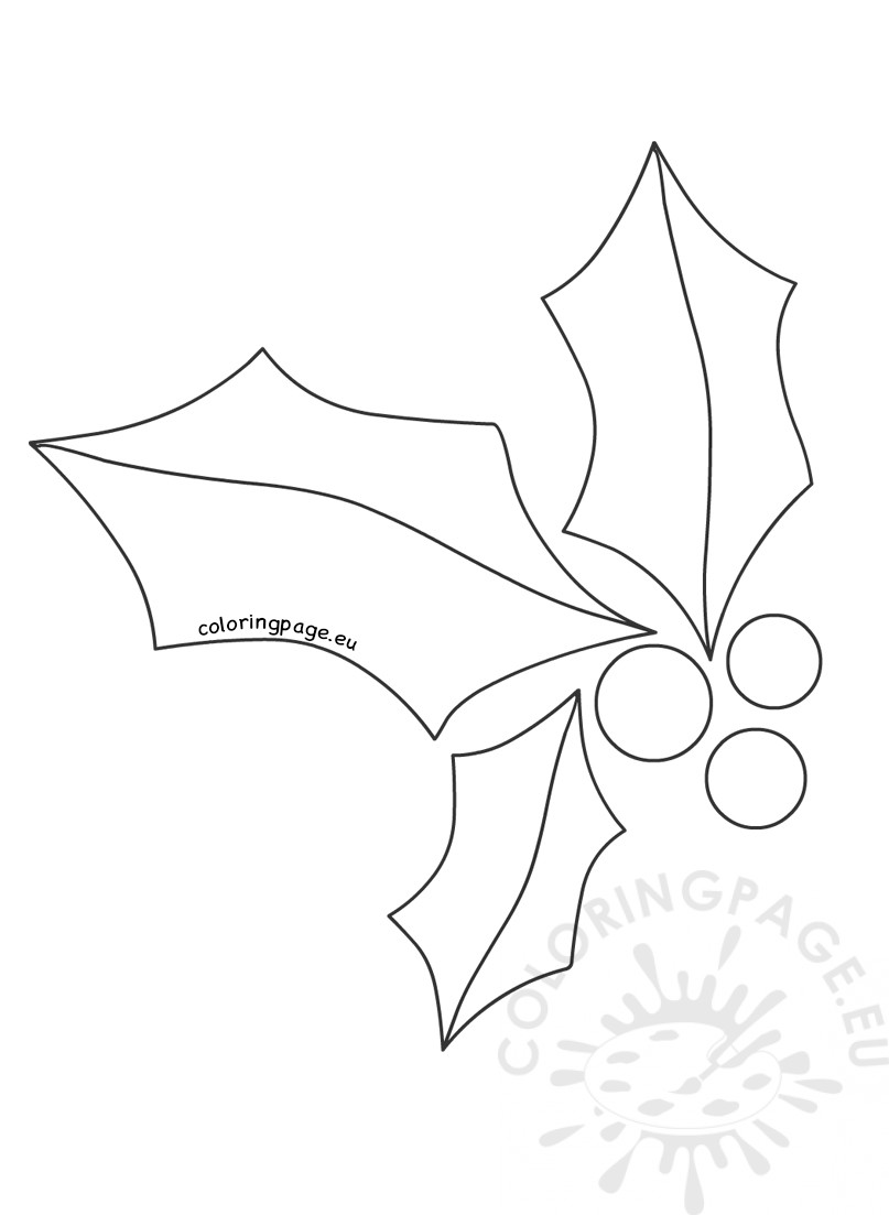 807x1103 Christmas Holly Printable Template Coloring Page