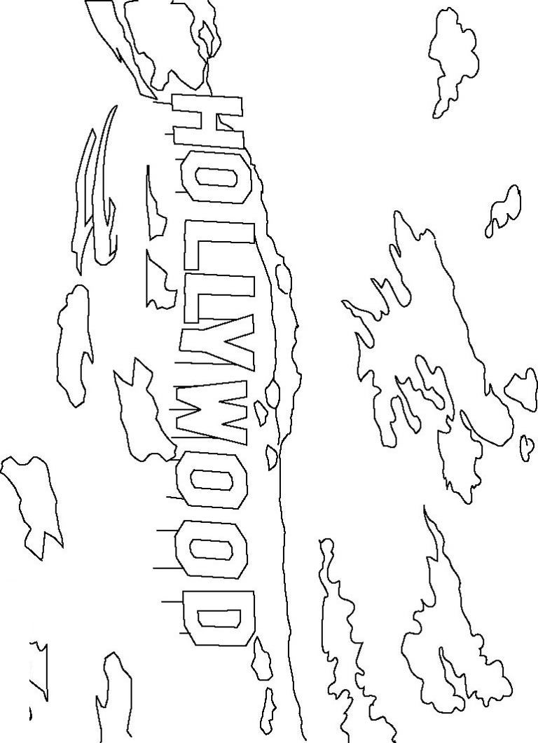768x1060 Hollywood Sign Coloring Page
