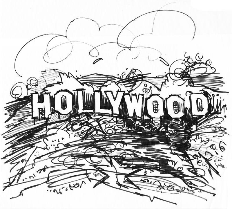 800x720 Hollywood Sign, Los Angeles, Illustration