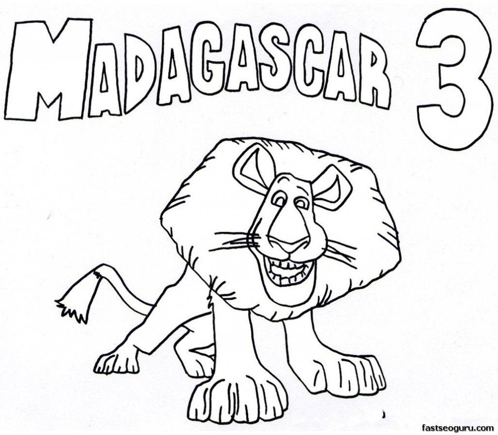 1024x894 Printable Alex Madagascar Coloring Pages Alex The Lion