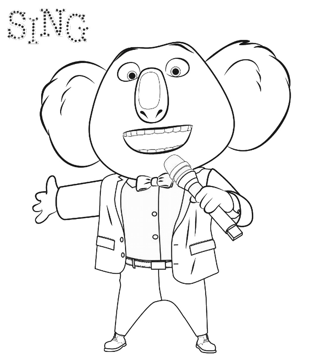 1045x1200 Sing Movie Coloring Pages Music Theme Birthday Party