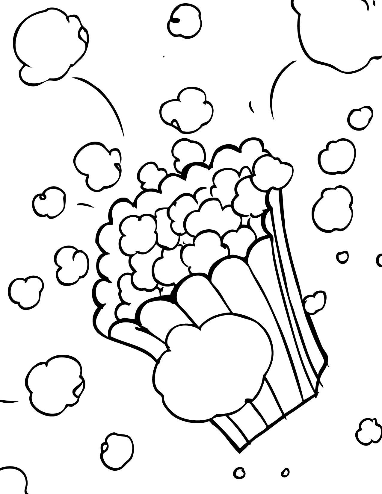 1275x1650 Popcorn Color Page, Letter P Week, Preschoolkindergarten